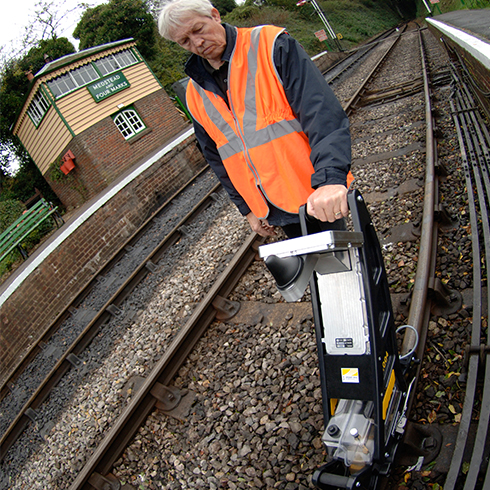 Sperry - 'Walking Stick' the inspection tool which the operator pushes along the railway track