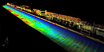 A scan image of above and below water data of a port in Miami